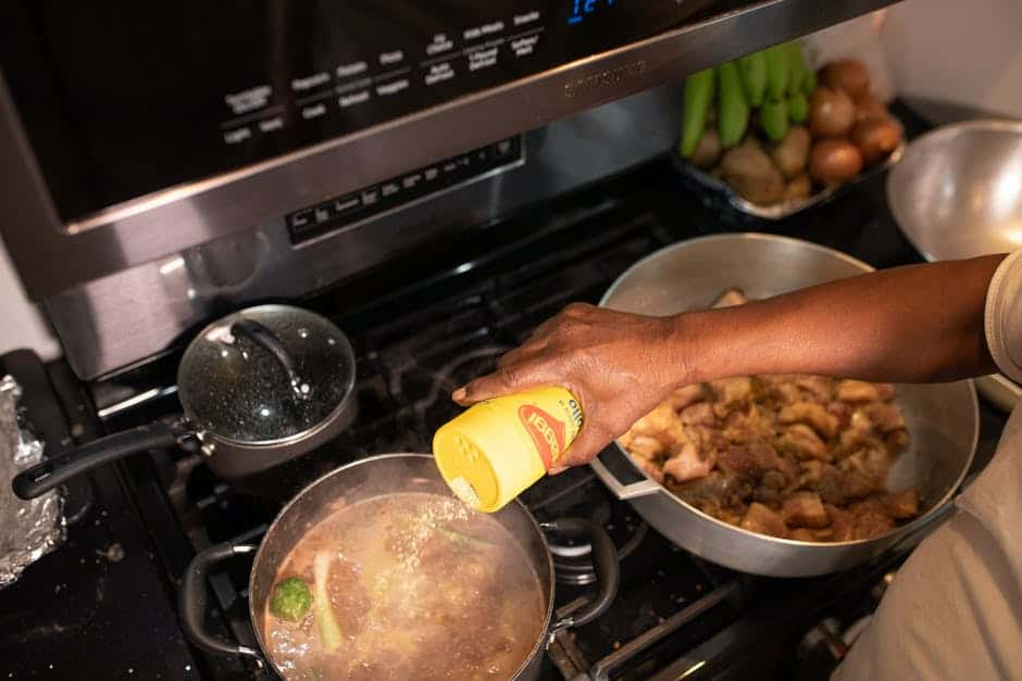 A pan of food on a stove